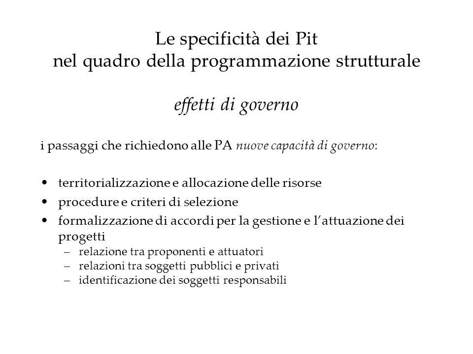 Le specificità dei Pit nel quadro della programmazione strutturale effetti di governo i passaggi che richiedono alle PA nuove capacità di governo: ter