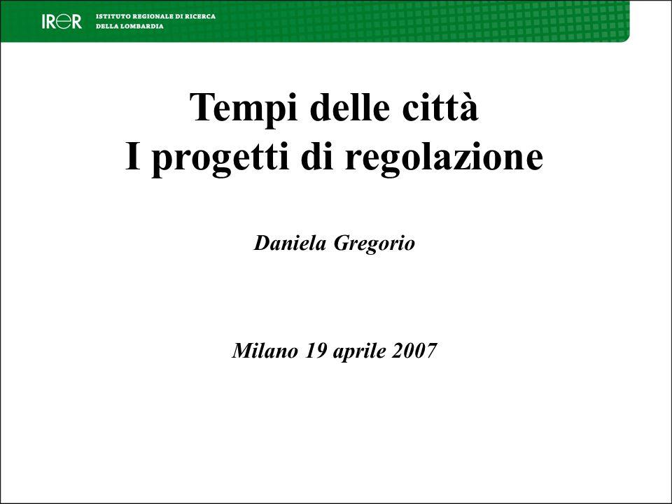 Tempi delle città I progetti di regolazione Daniela Gregorio Milano 19 aprile 2007
