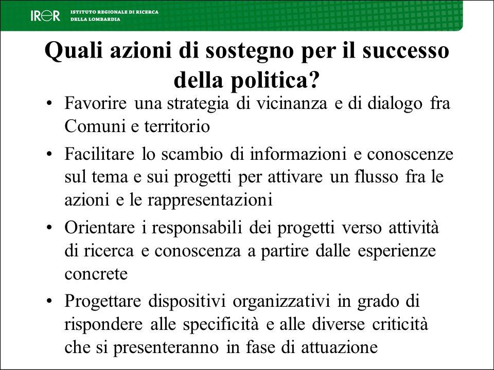 Quali azioni di sostegno per il successo della politica.