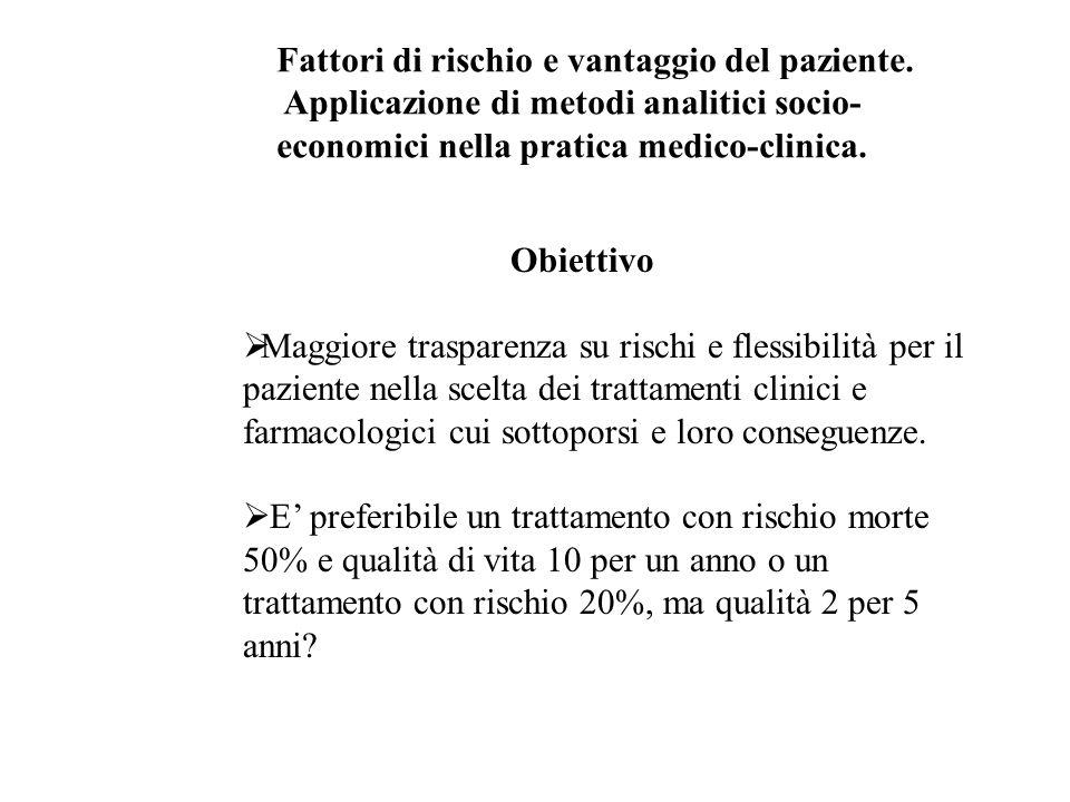 Obiettivo Maggiore trasparenza su rischi e flessibilità per il paziente nella scelta dei trattamenti clinici e farmacologici cui sottoporsi e loro conseguenze.