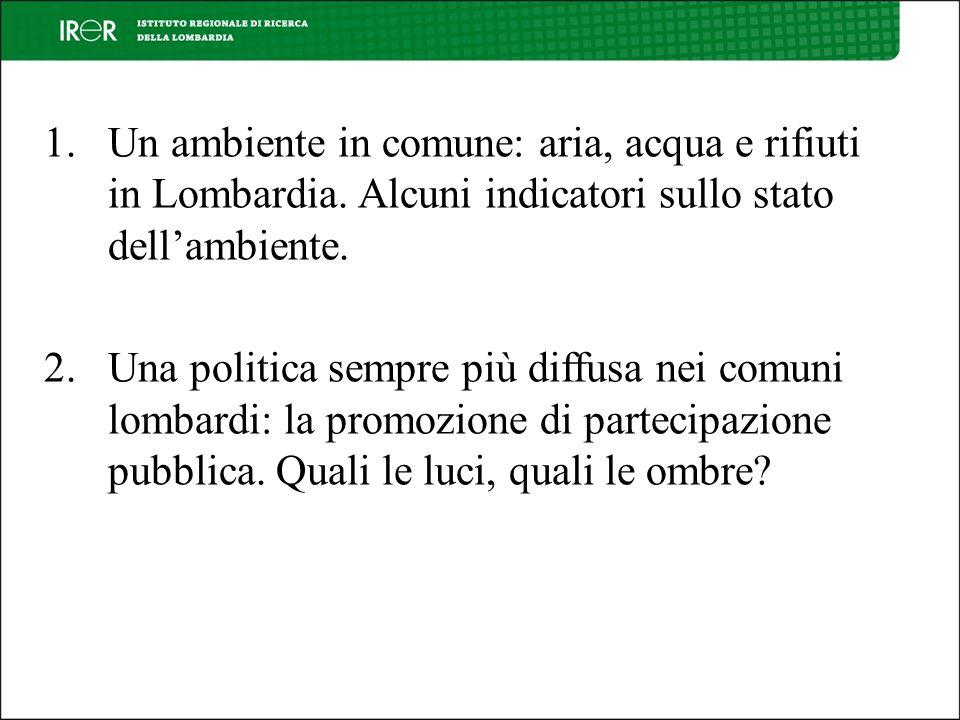 1.Un ambiente in comune: aria, acqua e rifiuti in Lombardia.