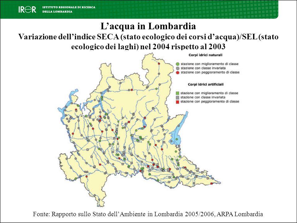 Fonte: Rapporto sullo Stato dellAmbiente in Lombardia 2005/2006, ARPA Lombardia Lacqua in Lombardia Variazione dellindice SECA (stato ecologico dei corsi dacqua)/SEL (stato ecologico dei laghi) nel 2004 rispetto al 2003