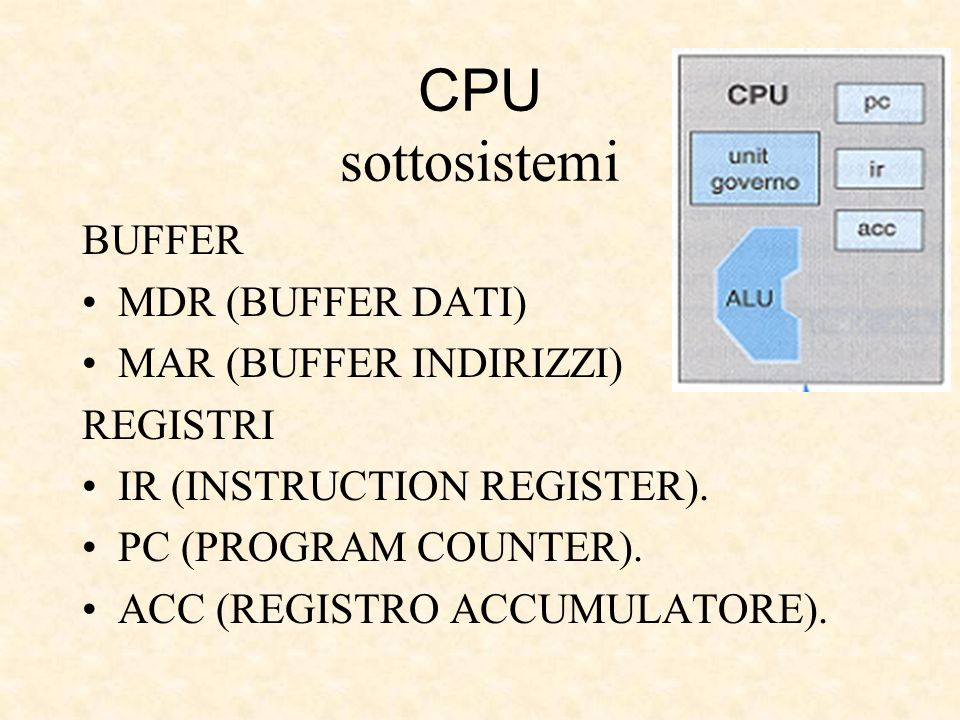 CPU sottosistemi BUFFER MDR (BUFFER DATI) MAR (BUFFER INDIRIZZI) REGISTRI IR (INSTRUCTION REGISTER). PC (PROGRAM COUNTER). ACC (REGISTRO ACCUMULATORE)