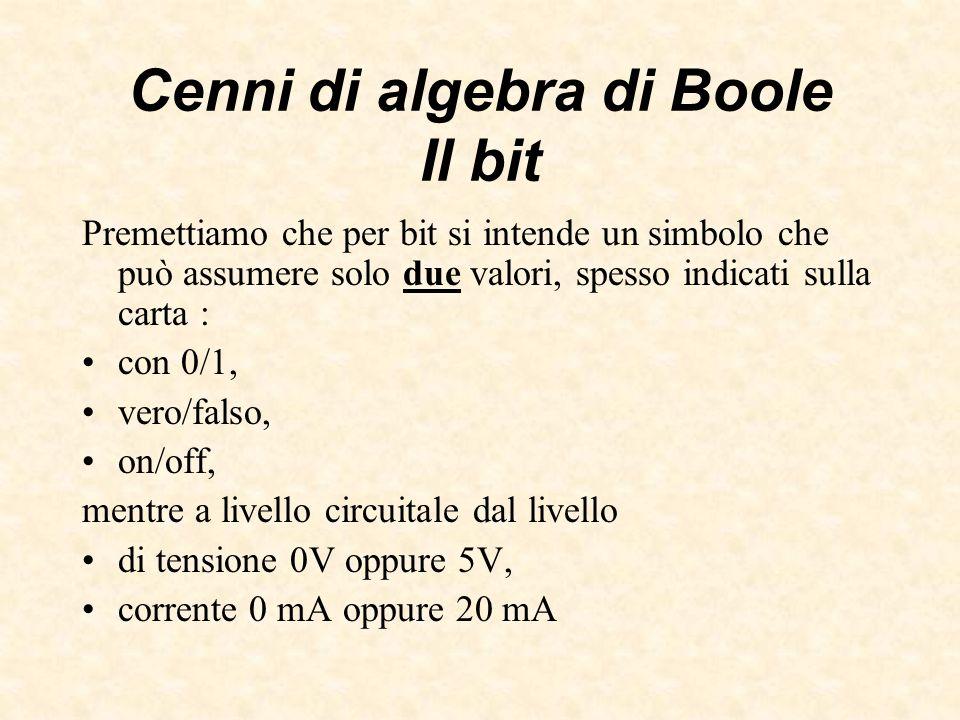 Cenni di algebra di Boole Oggetti rappresentabili Con 1 bit si possono individuare due oggetti (0, 1), con 2 bit 4 oggetti (00, 01, 10, 11) con n bit 2 n oggetti.