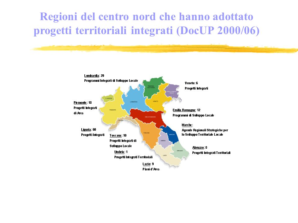 Regioni del centro nord che hanno adottato progetti territoriali integrati (DocUP 2000/06)