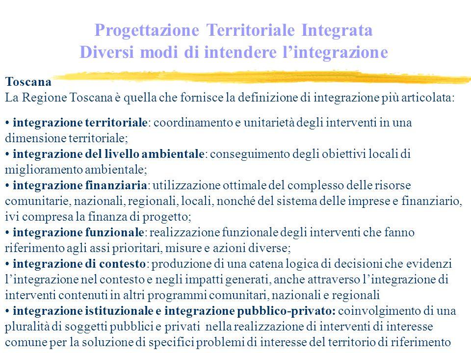 Progettazione Territoriale Integrata Diversi modi di intendere lintegrazione Toscana La Regione Toscana è quella che fornisce la definizione di integrazione più articolata: integrazione territoriale: coordinamento e unitarietà degli interventi in una dimensione territoriale; integrazione del livello ambientale: conseguimento degli obiettivi locali di miglioramento ambientale; integrazione finanziaria: utilizzazione ottimale del complesso delle risorse comunitarie, nazionali, regionali, locali, nonché del sistema delle imprese e finanziario, ivi compresa la finanza di progetto; integrazione funzionale: realizzazione funzionale degli interventi che fanno riferimento agli assi prioritari, misure e azioni diverse; integrazione di contesto: produzione di una catena logica di decisioni che evidenzi lintegrazione nel contesto e negli impatti generati, anche attraverso lintegrazione di interventi contenuti in altri programmi comunitari, nazionali e regionali integrazione istituzionale e integrazione pubblico-privato: coinvolgimento di una pluralità di soggetti pubblici e privati nella realizzazione di interventi di interesse comune per la soluzione di specifici problemi di interesse del territorio di riferimento