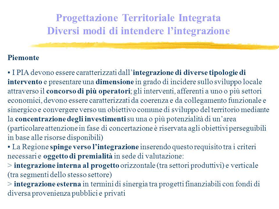 Progettazione Territoriale Integrata Diversi modi di intendere lintegrazione Piemonte I PIA devono essere caratterizzati dallintegrazione di diverse tipologie di intervento e presentare una dimensione in grado di incidere sullo sviluppo locale attraverso il concorso di più operatori; gli interventi, afferenti a uno o più settori economici, devono essere caratterizzati da coerenza e da collegamento funzionale e sinergico e convergere verso un obiettivo comune di sviluppo del territorio mediante la concentrazione degli investimenti su una o più potenzialità di unarea (particolare attenzione in fase di concertazione è riservata agli obiettivi perseguibili in base alle risorse disponibili) La Regione spinge verso lintegrazione inserendo questo requisito tra i criteri necessari e oggetto di premialità in sede di valutazione: > integrazione interna al progetto orizzontale (tra settori produttivi) e verticale (tra segmenti dello stesso settore) > integrazione esterna in termini di sinergia tra progetti finanziabili con fondi di diversa provenienza pubblici e privati
