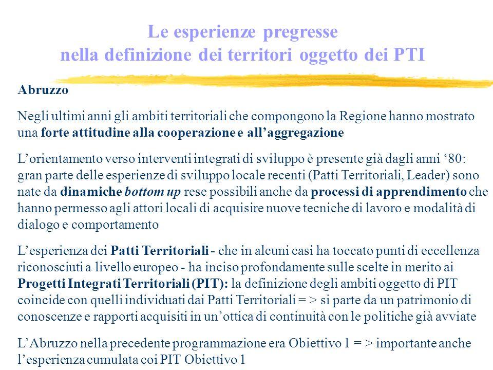 Questa componente è presente in tutti i casi analizzati: Lombardia Emilia Romagna Toscana Piemonte Abruzzo Elemento dominante del modello messo a fuoco nel Lazio Le esperienze pregresse: mettere a sistema le esperienze avviate