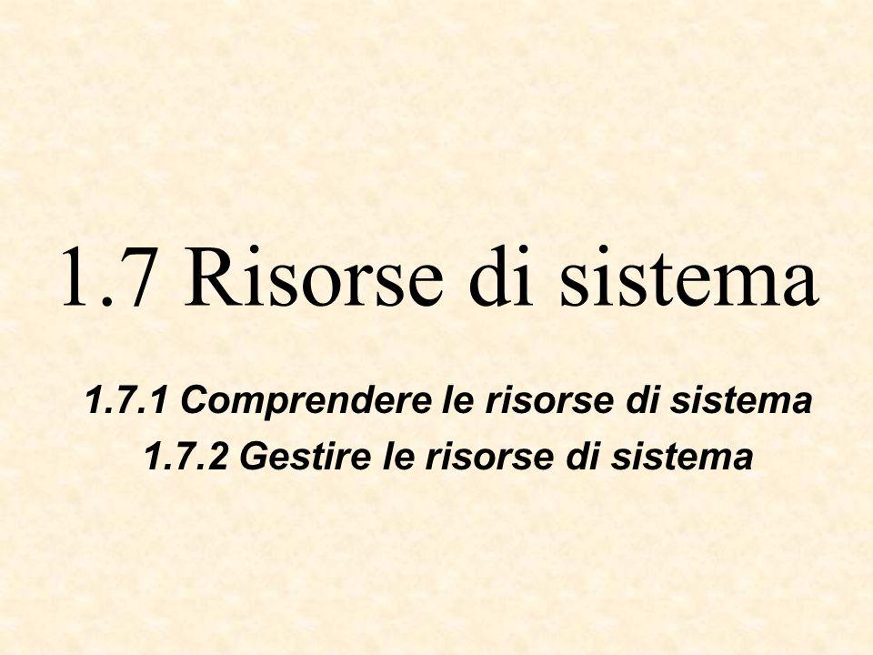 1.7 Risorse di sistema 1.7.1 Comprendere le risorse di sistema 1.7.2 Gestire le risorse di sistema