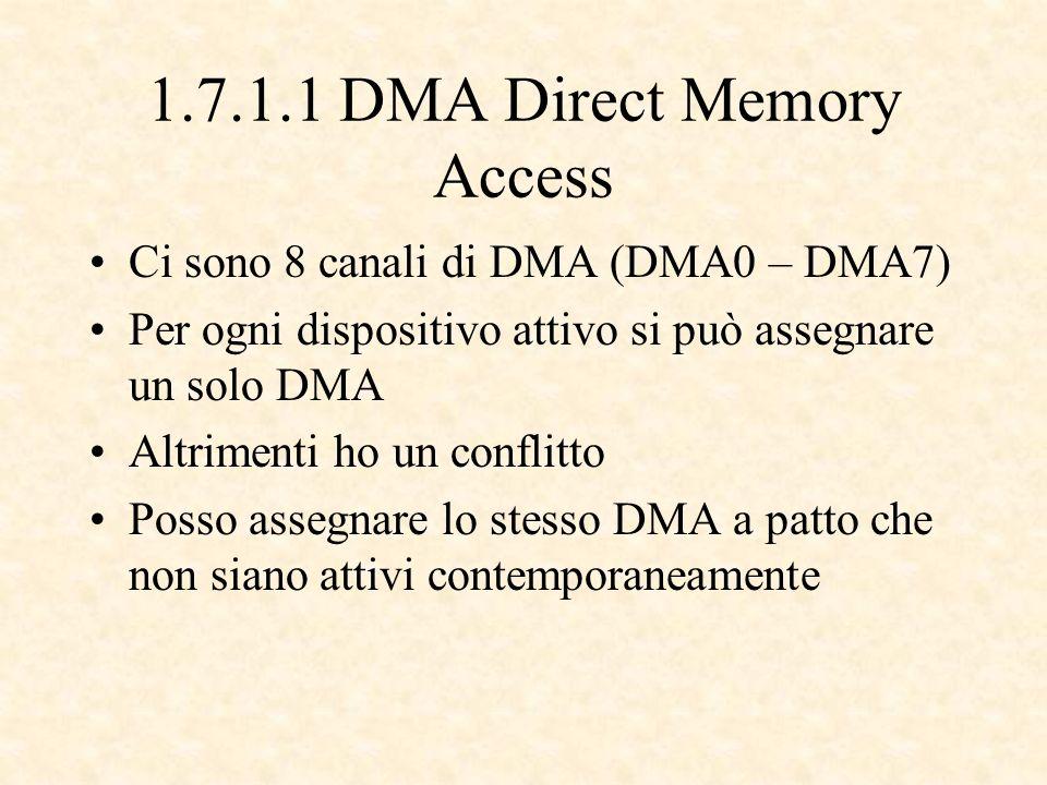 1.7.1.1 DMA Direct Memory Access Ci sono 8 canali di DMA (DMA0 – DMA7) Per ogni dispositivo attivo si può assegnare un solo DMA Altrimenti ho un conflitto Posso assegnare lo stesso DMA a patto che non siano attivi contemporaneamente