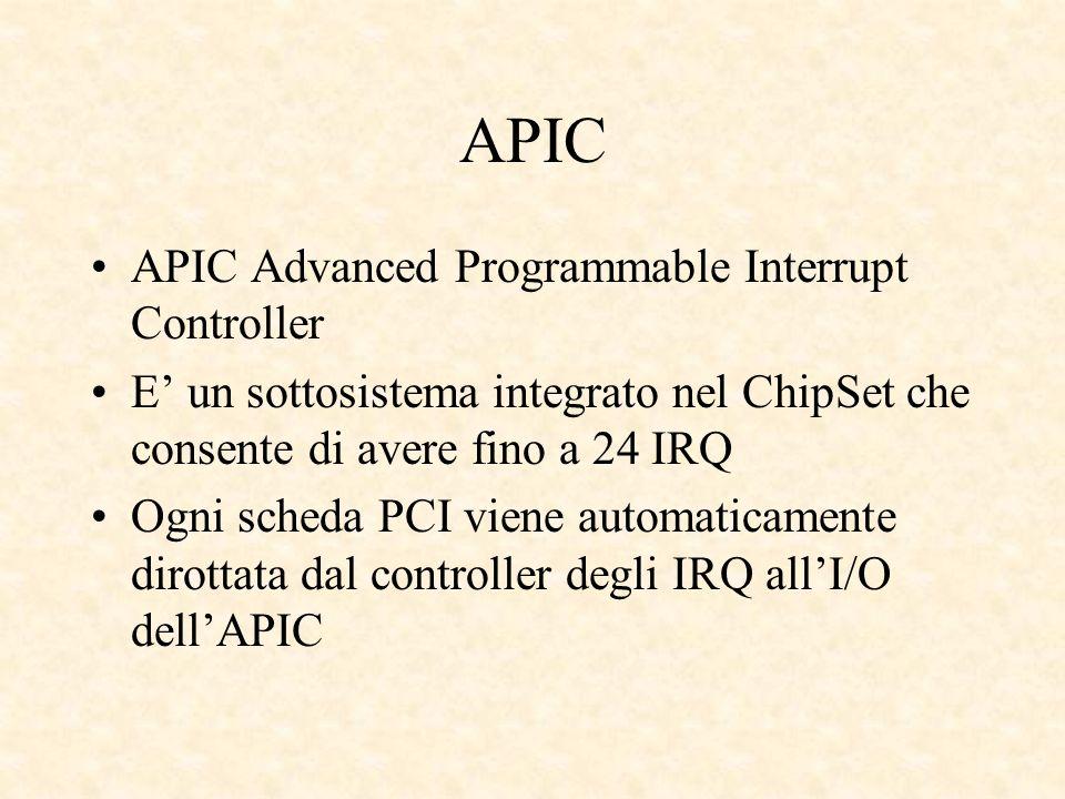 APIC APIC Advanced Programmable Interrupt Controller E un sottosistema integrato nel ChipSet che consente di avere fino a 24 IRQ Ogni scheda PCI viene automaticamente dirottata dal controller degli IRQ allI/O dellAPIC