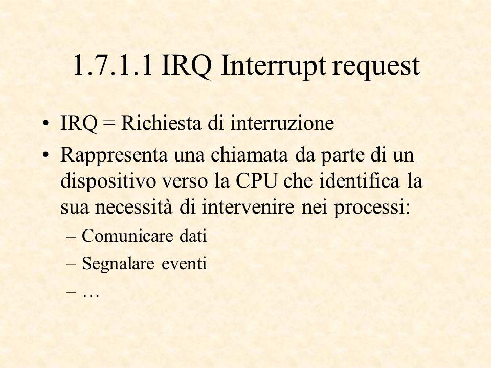 1.7.1.1 IRQ Interrupt request IRQ = Richiesta di interruzione Rappresenta una chiamata da parte di un dispositivo verso la CPU che identifica la sua necessità di intervenire nei processi: –Comunicare dati –Segnalare eventi –…