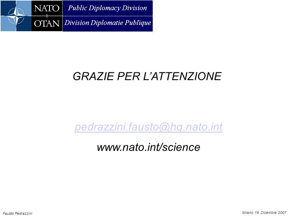 Public Diplomacy Division Division Diplomatie Publique AMMAN, 21 JUNE 2007 Fausto Pedrazzini Milano 19 Dicembre 2007 GRAZIE PER LATTENZIONE pedrazzini.fausto@hq.nato.int www.nato.int/science