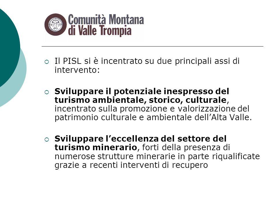 Il PISL si è incentrato su due principali assi di intervento: Sviluppare il potenziale inespresso del turismo ambientale, storico, culturale, incentrato sulla promozione e valorizzazione del patrimonio culturale e ambientale dellAlta Valle.
