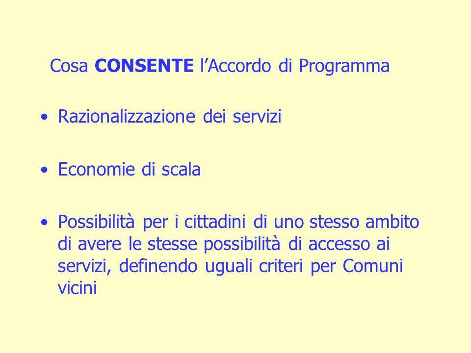 Cosa CONSENTE lAccordo di Programma Razionalizzazione dei servizi Economie di scala Possibilità per i cittadini di uno stesso ambito di avere le stesse possibilità di accesso ai servizi, definendo uguali criteri per Comuni vicini