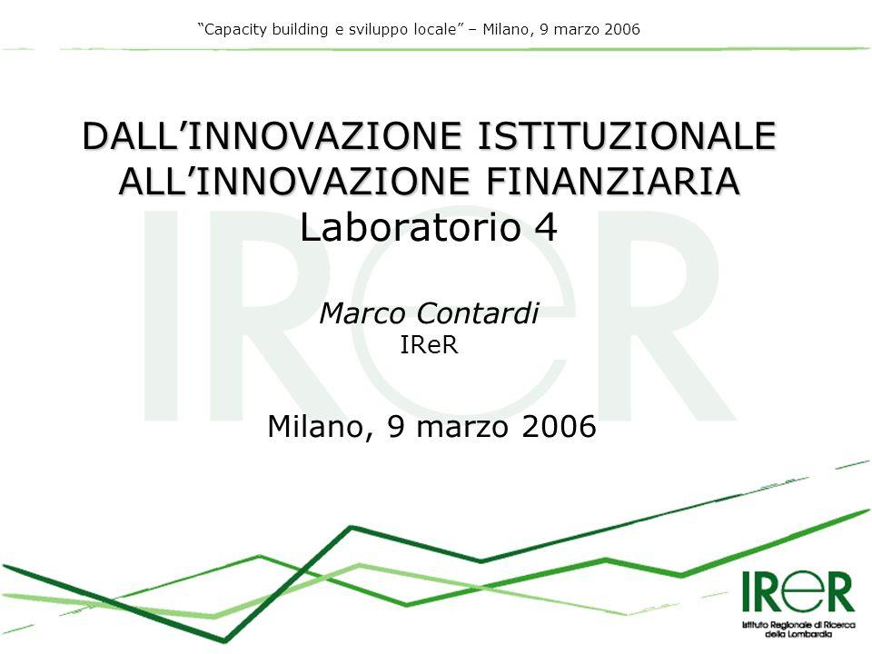 Capacity building e sviluppo locale – Milano, 9 marzo 2006 Risultati della ricerca prima annualità/1 PIANIFICAZIONE STRATEGICA E PORTAFOGLIO PROGETTUALE PIANIFICAZIONE STRUMENTI DI BILANCIO E SOSTENIBILITA FISCALE STRUMENTI DI BILANCIO E SOSTENIBILITA FISCALE STRATEGIA DI INVESTIMENTO E STRUMENTI DI FINANZA INNOVATIVA STRATEGIA DI INVESTIMENTO E STRUMENTI DI FINANZA INNOVATIVA INNOVAZIONE ISTITUZIONALE E ASSOCIAZIONISMO INNOVAZIONE SVILUPPARE UN SISTEMA INTEGRATO DI PIANIFICAZIONE, BUDGETING E FINANZA INNOVATIVA