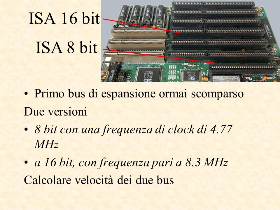 ISA 16 bit Primo bus di espansione ormai scomparso Due versioni 8 bit con una frequenza di clock di 4.77 MHz a 16 bit, con frequenza pari a 8.3 MHz Calcolare velocità dei due bus ISA 8 bit