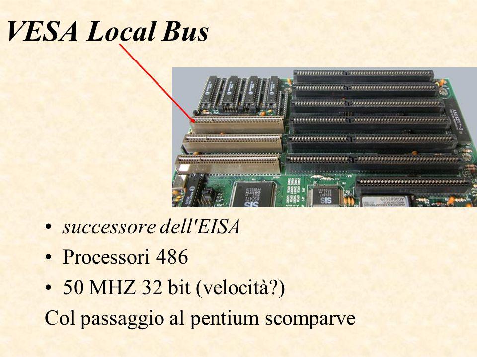 VESA Local Bus successore dell EISA Processori 486 50 MHZ 32 bit (velocità ) Col passaggio al pentium scomparve