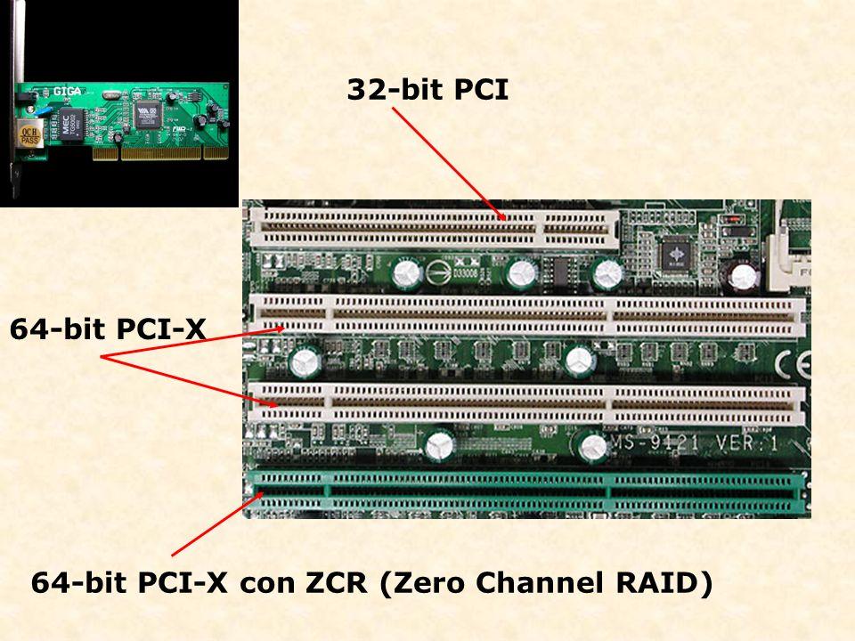 32-bit PCI 64-bit PCI-X 64-bit PCI-X con ZCR (Zero Channel RAID)