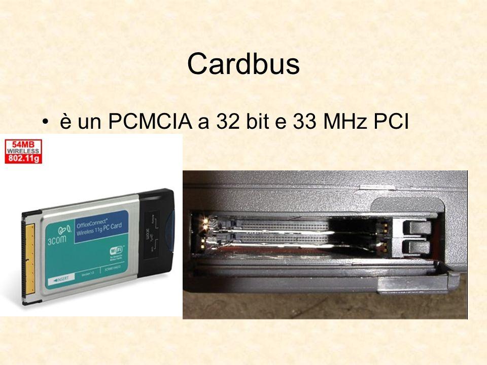 Cardbus è un PCMCIA a 32 bit e 33 MHz PCI