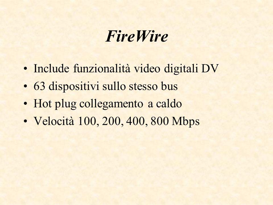FireWire Include funzionalità video digitali DV 63 dispositivi sullo stesso bus Hot plug collegamento a caldo Velocità 100, 200, 400, 800 Mbps