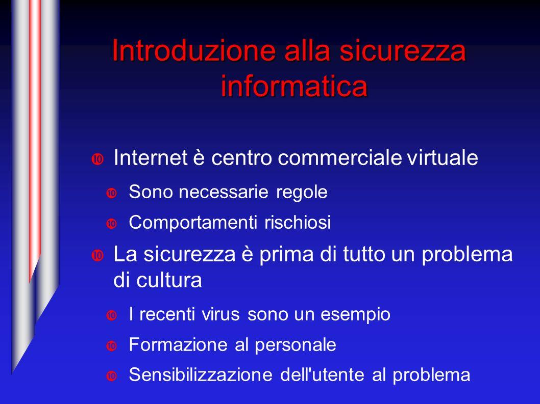 Introduzione alla sicurezza informatica Internet è centro commerciale virtuale Sono necessarie regole Comportamenti rischiosi La sicurezza è prima di