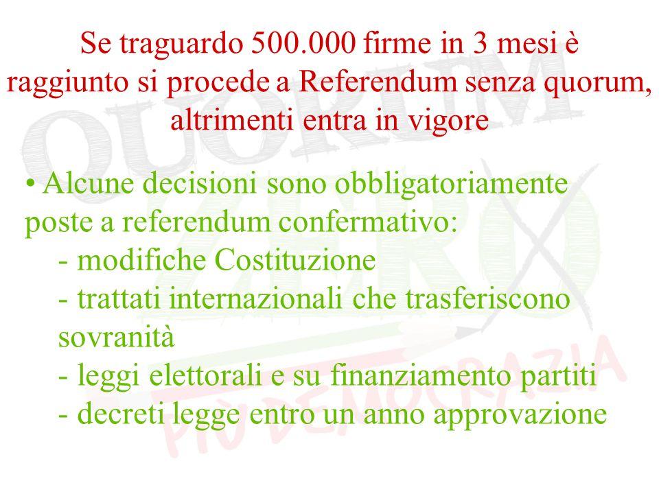 Se traguardo 500.000 firme in 3 mesi è raggiunto si procede a Referendum senza quorum, altrimenti entra in vigore Alcune decisioni sono obbligatoriamente poste a referendum confermativo: - modifiche Costituzione - trattati internazionali che trasferiscono sovranità - leggi elettorali e su finanziamento partiti - decreti legge entro un anno approvazione
