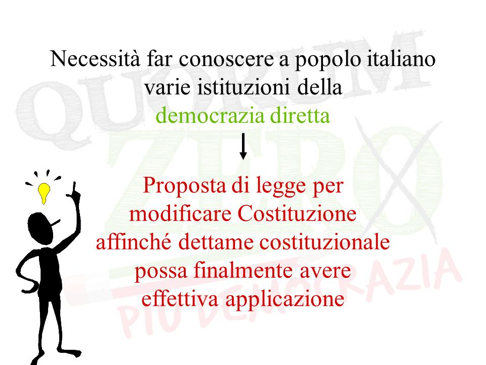 Necessità far conoscere a popolo italiano varie istituzioni della democrazia diretta Proposta di legge per modificare Costituzione affinché dettame costituzionale possa finalmente avere effettiva applicazione