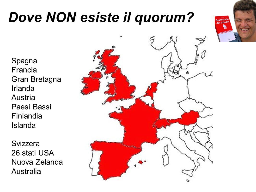 Dove NON esiste il quorum? Spagna Francia Gran Bretagna Irlanda Austria Paesi Bassi Finlandia Islanda Svizzera 26 stati USA Nuova Zelanda Australia