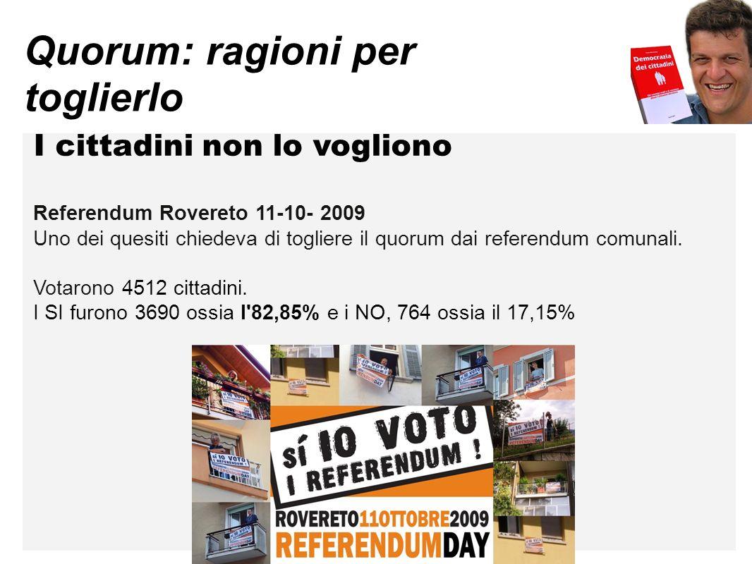 Quorum: ragioni per toglierlo I cittadini non lo vogliono Referendum Rovereto 11-10- 2009 Uno dei quesiti chiedeva di togliere il quorum dai referendum comunali.
