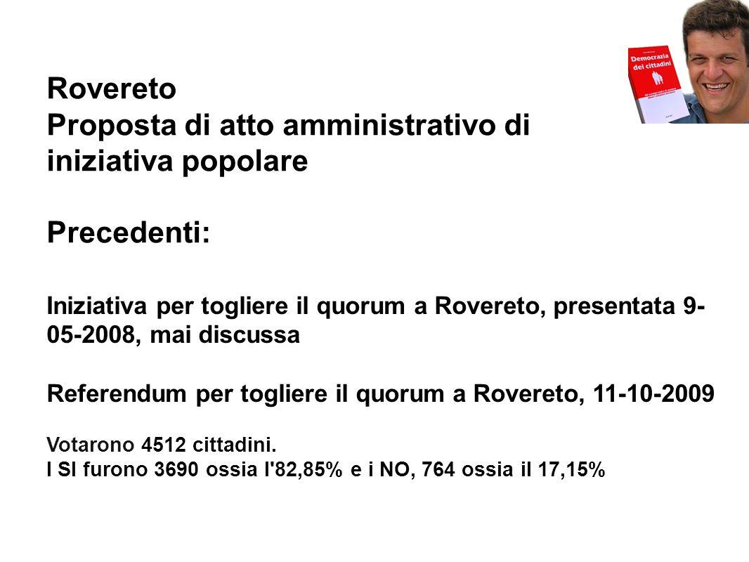 Rovereto Proposta di atto amministrativo di iniziativa popolare Precedenti: Iniziativa per togliere il quorum a Rovereto, presentata 9- 05-2008, mai discussa Referendum per togliere il quorum a Rovereto, 11-10-2009 Votarono 4512 cittadini.