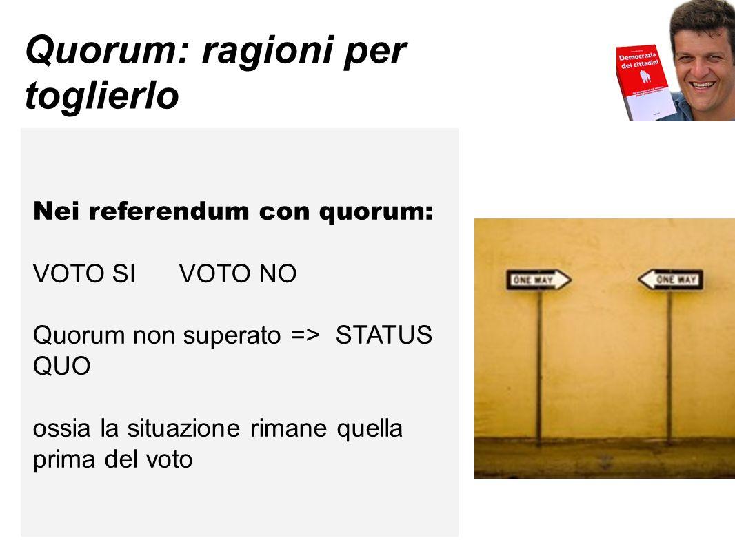 Quorum: ragioni per toglierlo Nei referendum con quorum: VOTO SI VOTO NO Quorum non superato => STATUS QUO ossia la situazione rimane quella prima del voto