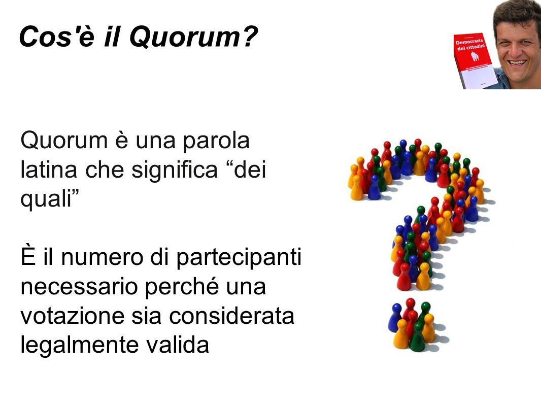Cos'è il Quorum? Quorum è una parola latina che significa dei quali È il numero di partecipanti necessario perché una votazione sia considerata legalm