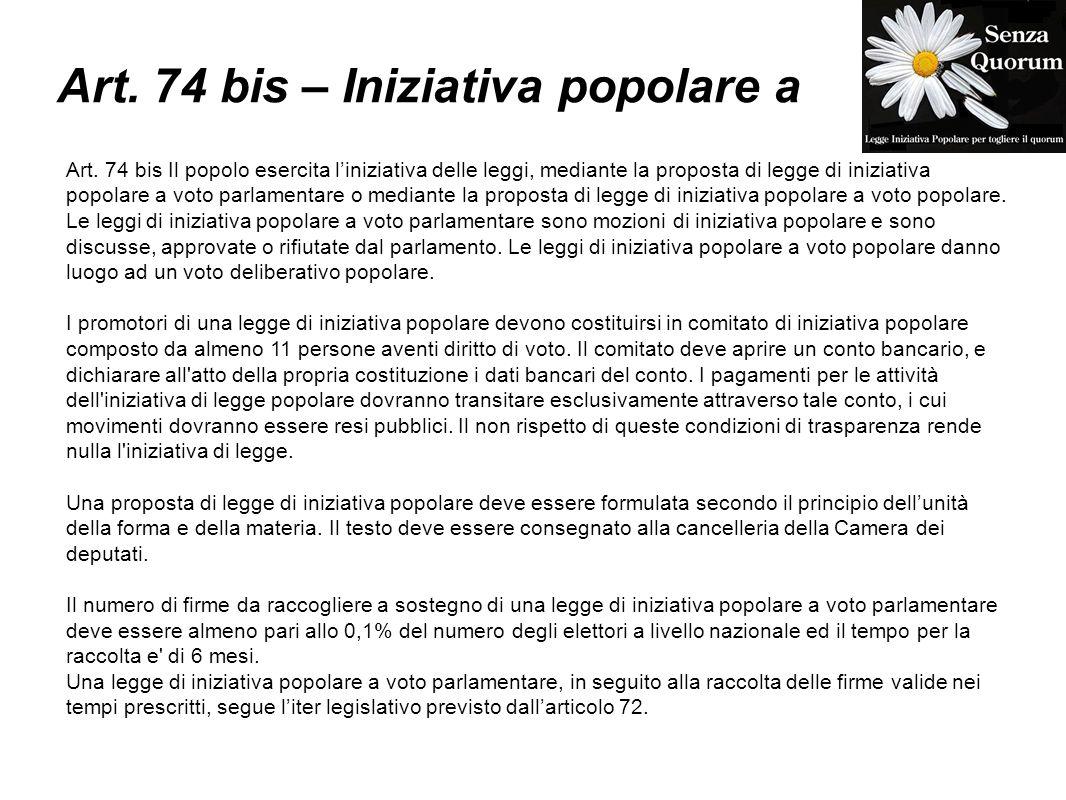 Art. 74 bis – Iniziativa popolare a Art.