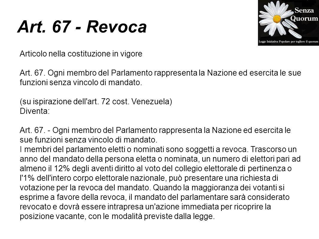Art. 67 - Revoca Articolo nella costituzione in vigore Art.