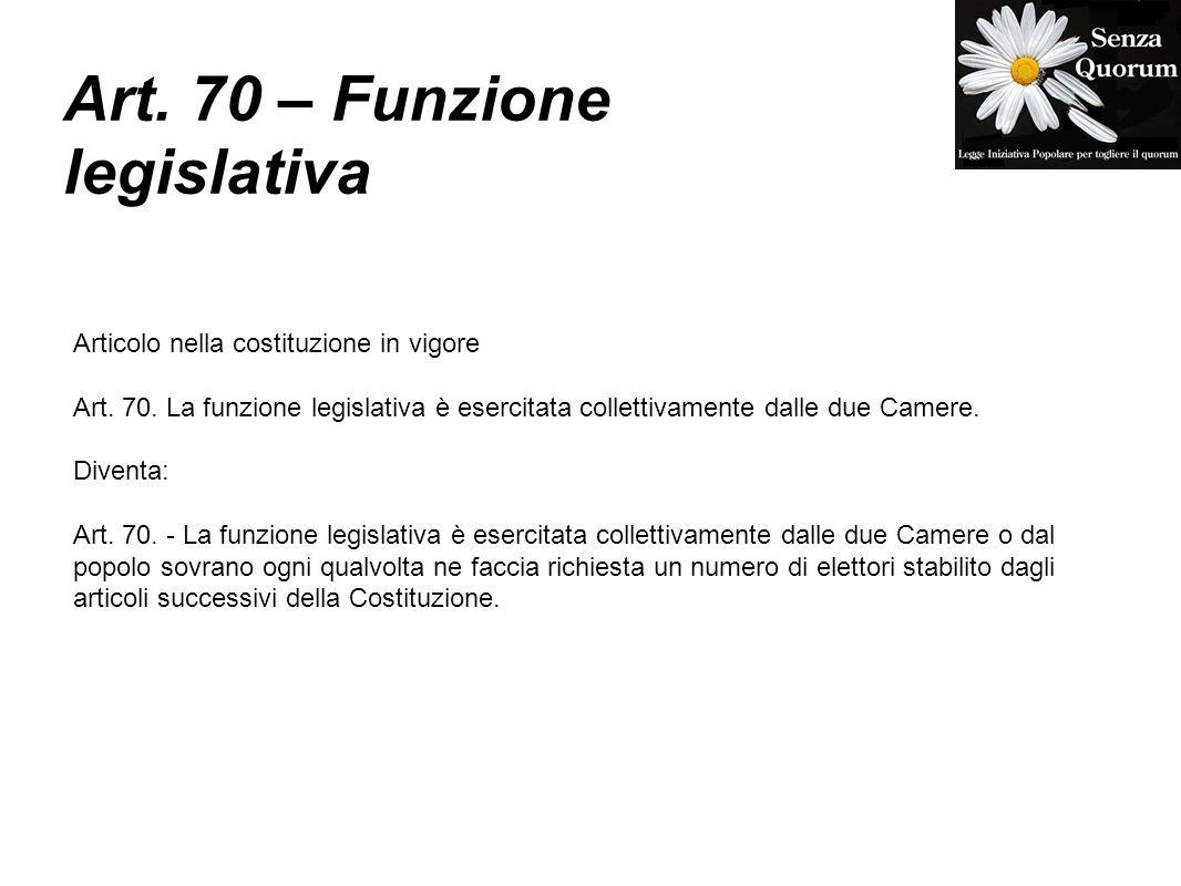 Art. 70 – Funzione legislativa Articolo nella costituzione in vigore Art.
