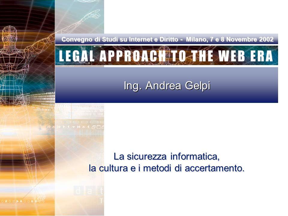 Convegno di Studi su Internet e Diritto - Milano, 7 e 8 Novembre 2002 Convegno di Studi su Internet e Diritto - Milano, 7 e 8 Novembre 2002 Ing.