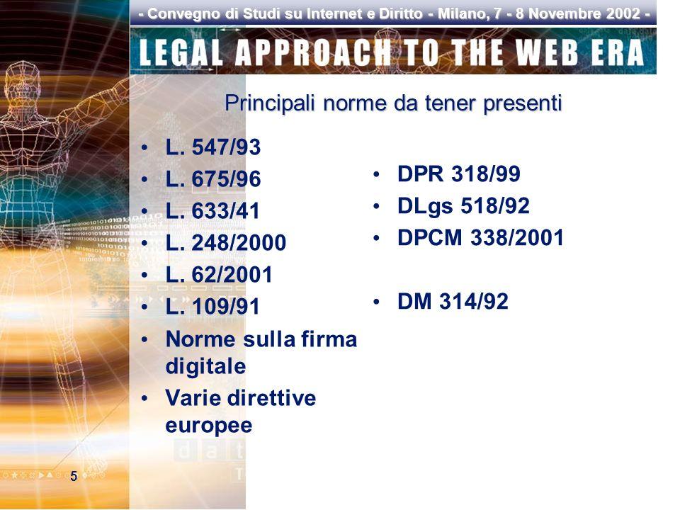 5 - Convegno di Studi su Internet e Diritto - Milano, 7 - 8 Novembre 2002 - Principali norme da tener presenti L.