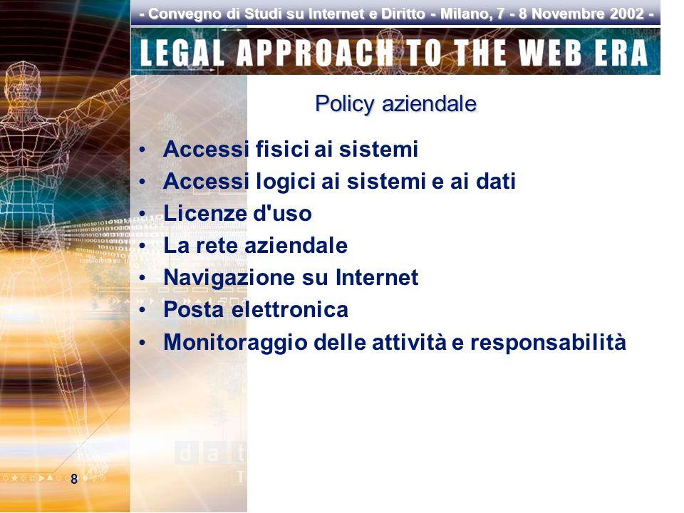 8 - Convegno di Studi su Internet e Diritto - Milano, 7 - 8 Novembre 2002 - Policy aziendale Accessi fisici ai sistemi Accessi logici ai sistemi e ai dati Licenze d uso La rete aziendale Navigazione su Internet Posta elettronica Monitoraggio delle attività e responsabilità