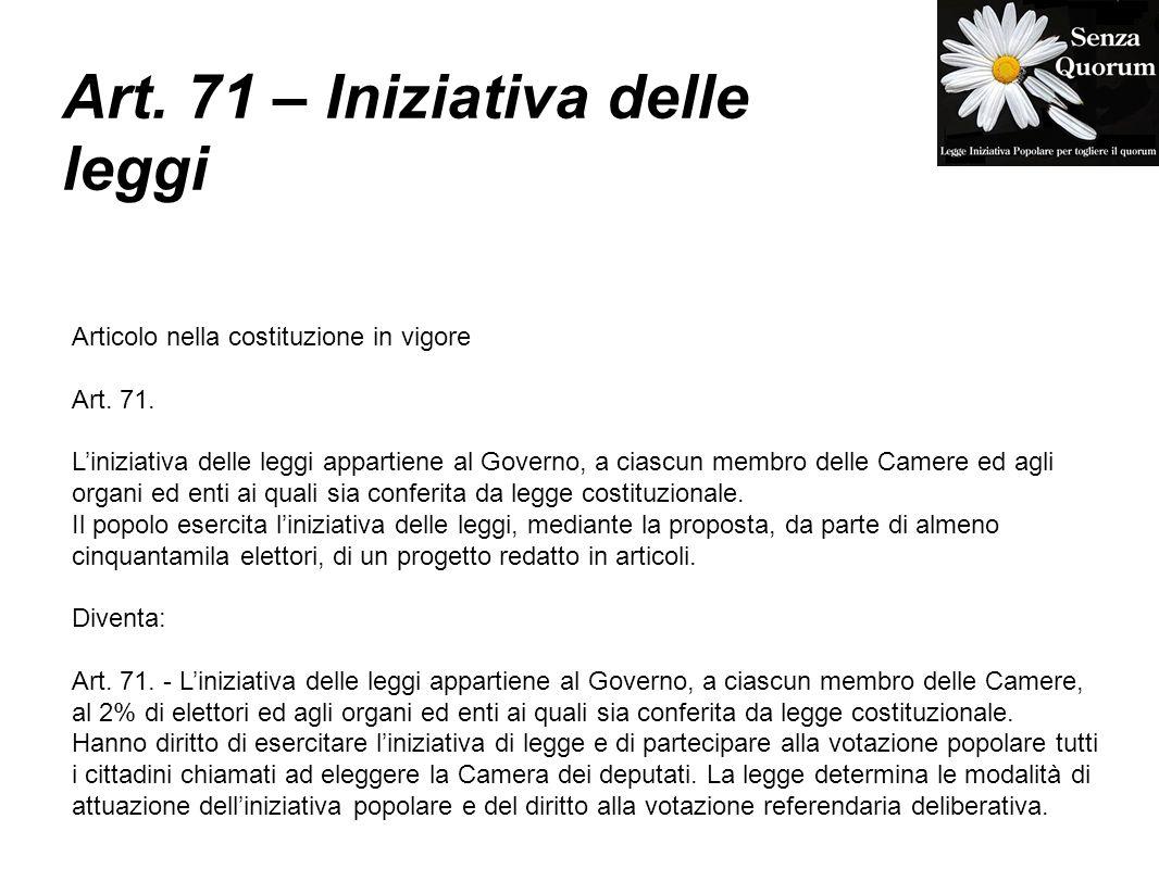 Art. 71 – Iniziativa delle leggi Articolo nella costituzione in vigore Art.