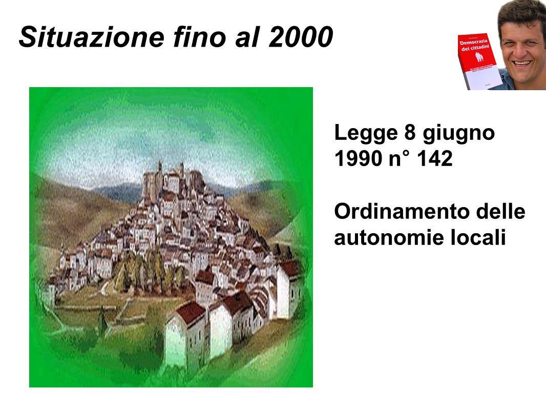 Situazione dopo il 2000 Decreto Legislativo 18 agosto 2000 n° 267 Testo unico delle leggi sull ordinamento degli enti locali