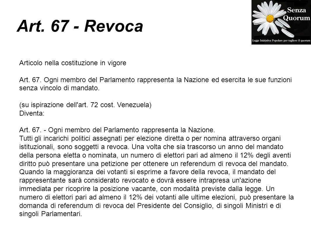 Art. 67 - Revoca Articolo nella costituzione in vigore Art. 67. Ogni membro del Parlamento rappresenta la Nazione ed esercita le sue funzioni senza vi