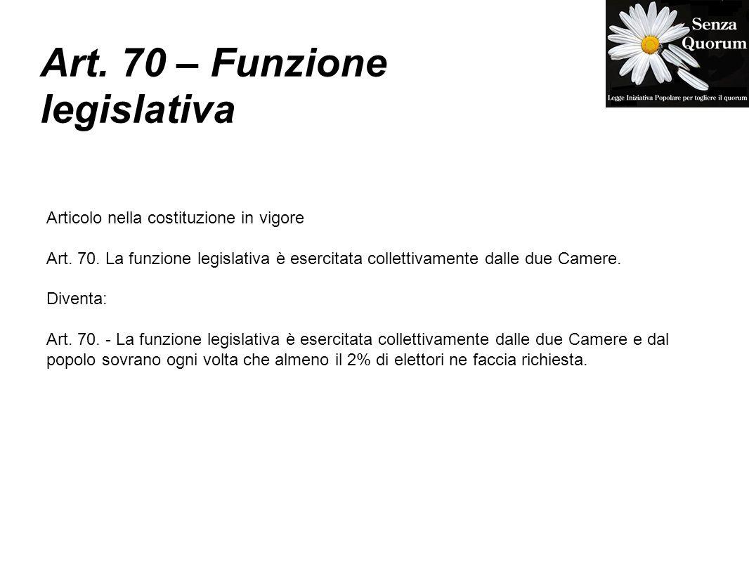Art. 70 – Funzione legislativa Articolo nella costituzione in vigore Art. 70. La funzione legislativa è esercitata collettivamente dalle due Camere. D