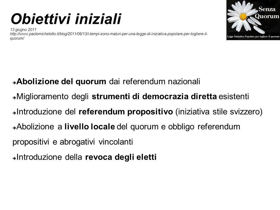 Obiettivi iniziali 13 giugno 2011 http://www.paolomichelotto.it/blog/2011/06/13/i-tempi-sono-maturi-per-una-legge-di-iniziativa-popolare-per-togliere-