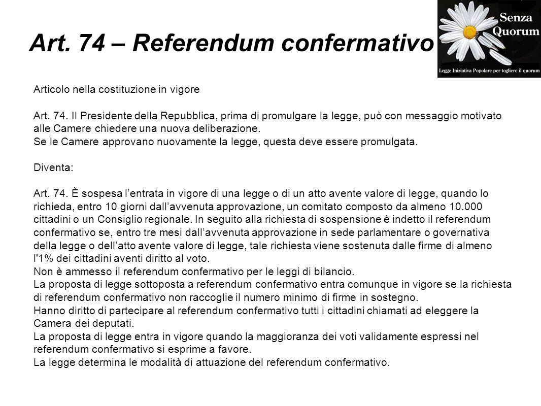 Art. 74 – Referendum confermativo Articolo nella costituzione in vigore Art. 74. Il Presidente della Repubblica, prima di promulgare la legge, può con