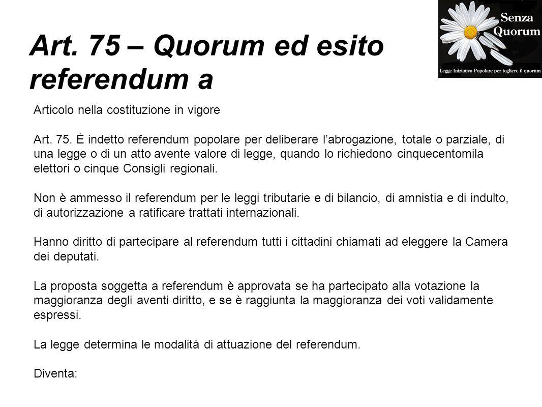 Art. 75 – Quorum ed esito referendum a Articolo nella costituzione in vigore Art. 75. È indetto referendum popolare per deliberare labrogazione, total