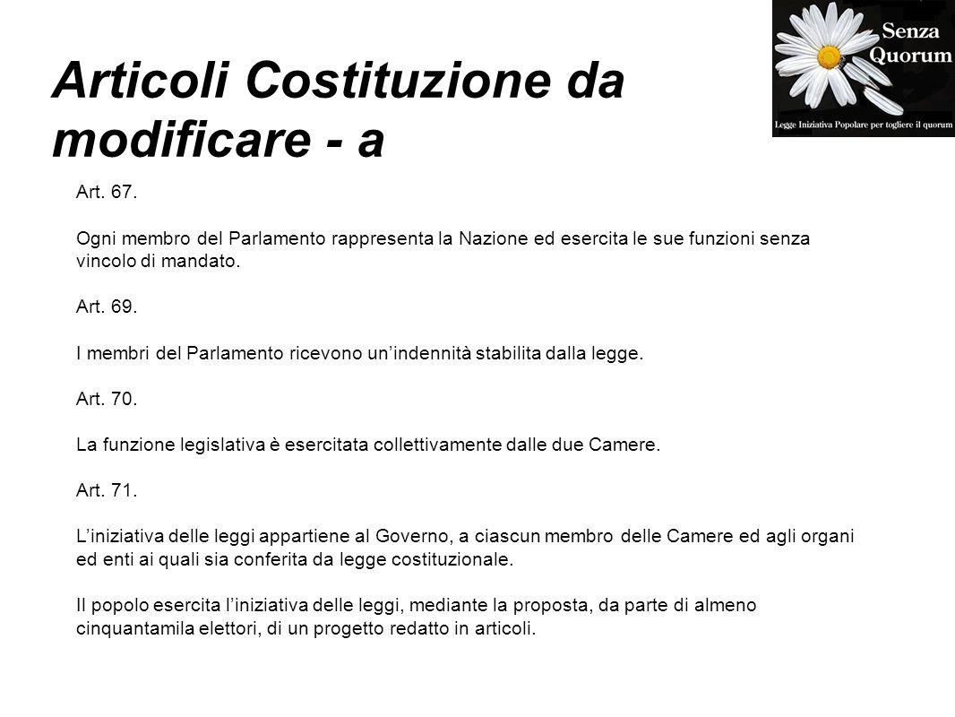 Articoli Costituzione da modificare - a Art. 67. Ogni membro del Parlamento rappresenta la Nazione ed esercita le sue funzioni senza vincolo di mandat