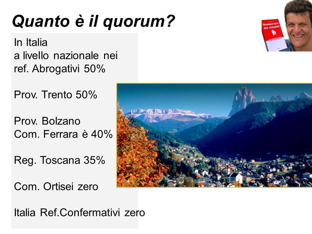 Quanto è il quorum? In Italia a livello nazionale nei ref. Abrogativi 50% Prov. Trento 50% Prov. Bolzano Com. Ferrara è 40% Reg. Toscana 35% Com. Orti