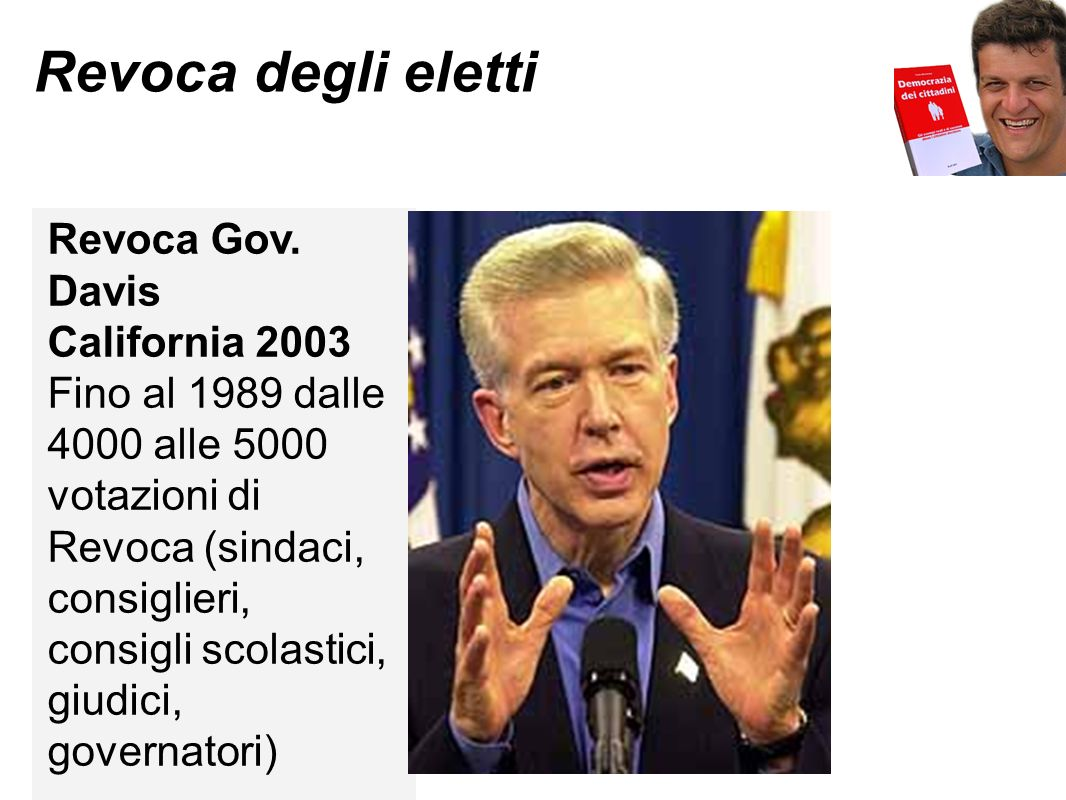 Revoca degli eletti Revoca Gov. Davis California 2003 Fino al 1989 dalle 4000 alle 5000 votazioni di Revoca (sindaci, consiglieri, consigli scolastici