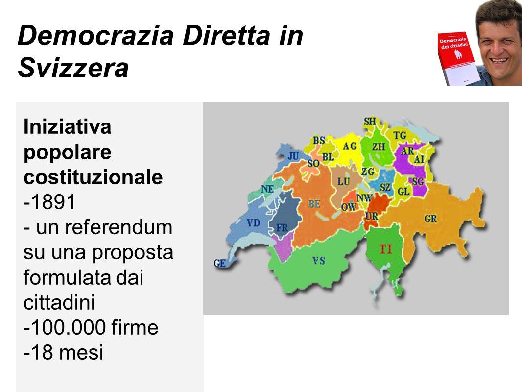 Democrazia Diretta in Svizzera Iniziativa popolare costituzionale -1891 - un referendum su una proposta formulata dai cittadini -100.000 firme -18 mes
